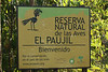 """The entrance sign to the El Paujil (Spanish for the Blue-billed Curassow) Reserve. <br><div id=""""caption_tourlink"""" align=""""right""""> [photo © guide Jesse Fagan]</div>"""