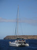 The Nemo II, a 72-foot ocean-going catamaran, is our home for the week. (Photo by guide Megan Crewe)