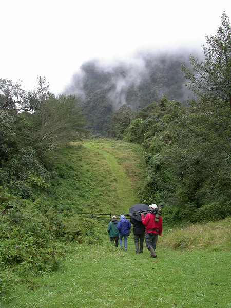"Group birding at Guango Lodge <br><div id=""caption_tourlink"" align=""right""> [photo © participant Alan Wight]</div>"