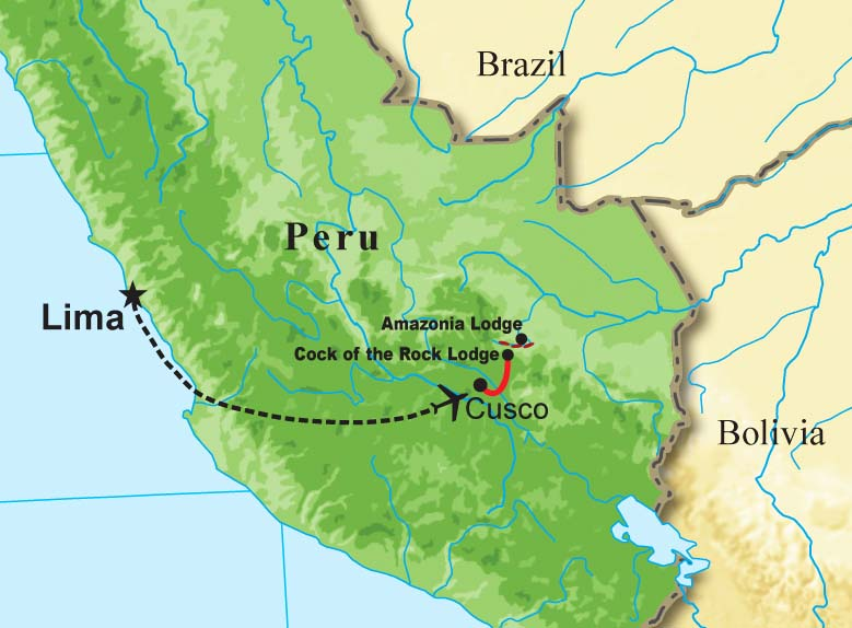 """Here are a few photos from past <b>Mountains of Manu, Peru</b> tours, guided by <b>Rose Ann Rowlett</b>. The map gives you an idea of the destinations covered: our flight to Cusco, our drive up and over the crest of the eastern cordillera to Cock-of-the-rock Lodge, and our boat trip to Amazonia Lodge across the Alto Madre de Dios.  Take a few minutes to look through the images and enjoy! <div id=""""caption_tourlink"""" align=""""right""""><br>[photo © guide Rose Ann Rowlett]</div>"""