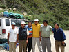 "Another key part:  Our wonderful staff, a couple of whom are usually veterans of a half dozen past tours with us.  Two are experienced drivers and two are experienced camp cooks who will produce many warm, tasty picnic meals in the field.  All help with setting up camp, filling water bottles, moving luggage, . . . .  (Rio Chonta above Cajamarca).   <div id=""caption_tourlink"" align=""right""><br>[photo © Rose Ann Rowlett]</div>"