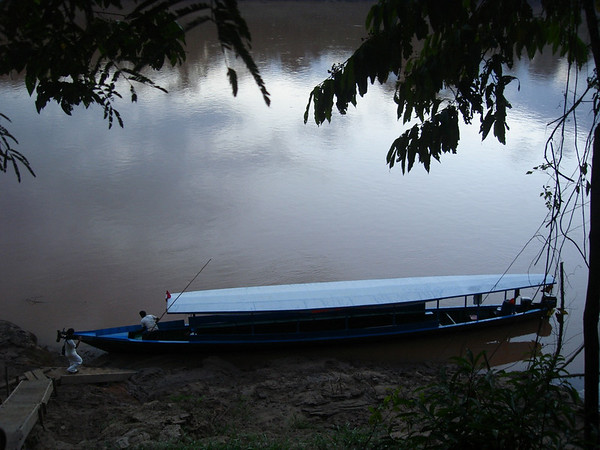 "Getting an early start on the Rio Tambopata<div id=""caption_tourlink"" align=""right""><br>[photo © Rose Ann Rowlett]</div>"