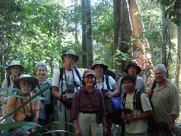 "2008 group on the trail at Posada Amazonas<div id=""caption_tourlink"" align=""right""><br>[photo © Rose Ann Rowlett]</div>"