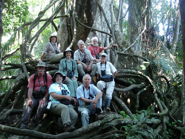"2008 group at the base of a strangler fig on the banks of Lago Sandoval<div id=""caption_tourlink"" align=""right""><br>[photo © Rose Ann Rowlett]</div>"