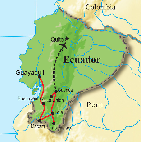 Our tour focuses on the south--from arid deciduous semi-desert to montane cloud forest to the humid evergreen Andean forests that together comprise a large, yet endangered, area of southwestern Ecuador. At the end of our loop, we fly from Cuenca to Quito for international connections homeward.