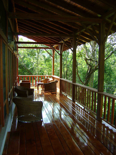 "The new Urraca Lodge, nestled among the cuipos and greening deciduous woodland, will be our base for three days of birding near the Peruvian border.  <br><div id=""caption_tourlink"" align=""right""> [photo © guide Mitch Lysinger]</div>"