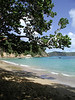 """One of the aspects of Tobago which makes is seem more Caribbean is the ocean. Here it is crystal clear, blue, and warm. This is a photo taken from the Blue Waters Inn, where we often stay for the night, and where we take our boat to Little Tobago. <div id=""""caption_tourlink"""" align=""""right""""> [photo © guide Megan Crewe]</div>"""