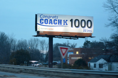 Congrats Coach K 1000 Wins highway sign
