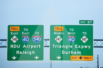 Triangle Expressway Road Signs, Exit 67, Durham, NC