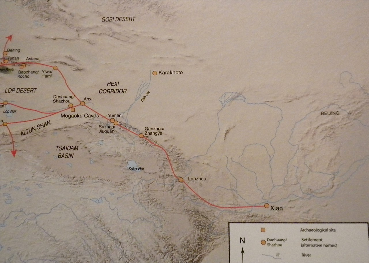 Map showing the routes of the Eastern Silk Road.  The map was motified in 2004