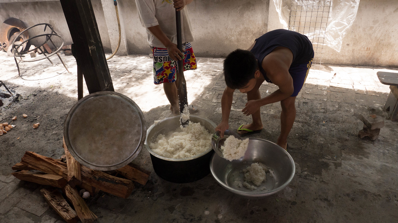White rice is the base of every meal.