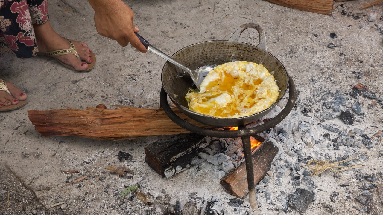 Egg cooked in peanut oil.