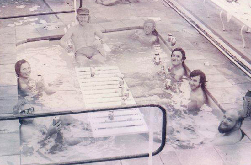 The founding meeting of SINS in the kiddies' paddling pool at Rushcutters Bay Travelodge, in December 1972. Pictures are, clockwise from bottom left, Peter Campbell, Rub Fondle, Alan Sefton, Peter Callagher (a guest who did the '72 Hobart with Sefton on Vago II and who was in the pool for the drink only), Too Loose La Fish, Bruce Mundle and a very nice guy who was (I think) a cameraman for Ted Turner (American Eagle did the Hobart that year). - Sefton Boss Ross got lost somewhere between the CYCA and the Rushcutters Travelodge, but was forgiven for this understandable mishap and was properly recognized as a Founding Father. - Fisher/Sefton