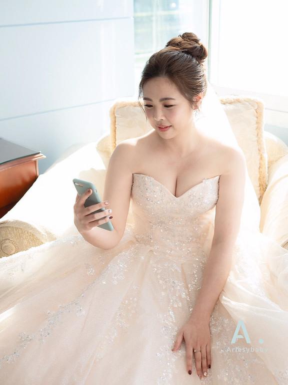 新祕,Ariesybaby造型團隊,宜蘭新秘,單眼皮新娘,迎娶造型,自然清透妝感