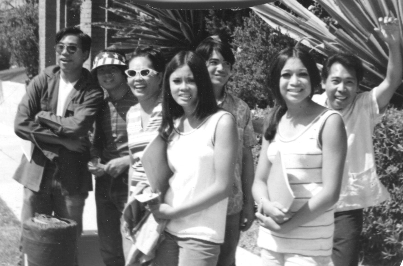 Youth leaving the Filipino Christian Church by bus for the 1st SIPA Oak Grove Camp - Uncle Roy on right (1970) (L-R) Sylvester Cariaso Jr.,George Rossi, Ana Cariaso (mother), Carol Cariaso, Jerry Rossi Jr., Laurene Rossi-Hallman, Royal Morales.