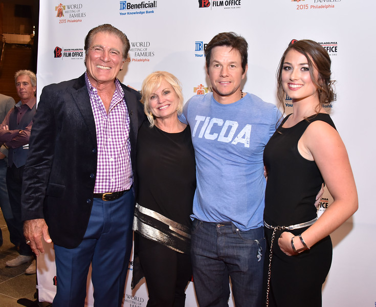 Mark Wahlberg (c) with Vince Papale, Janet Papale and Alexandra Papale at the World Meetings of Family 2015 Philadelphia Film Festival screening of Invinceable at the Kimmel Center Friday, September 25, 2015.