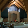 Chancel cross steel frame is in place.