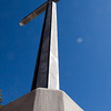 Cross at main entry to campus and worship center