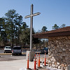 Cross at campus entrance
