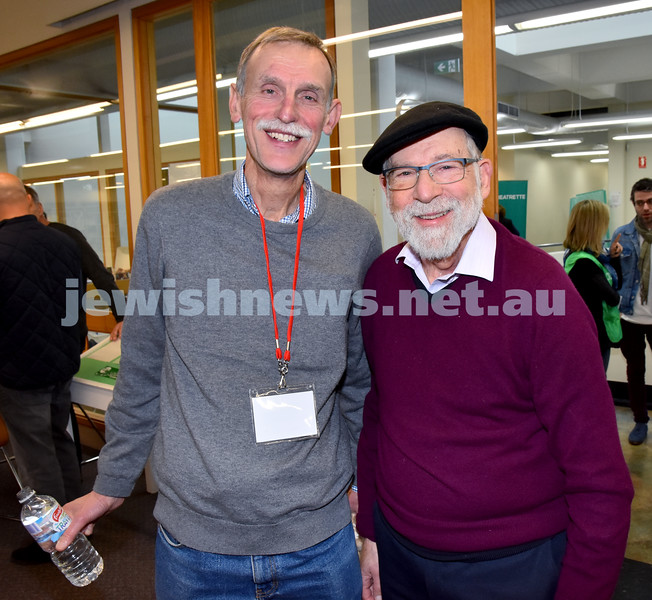 SWJF at Waverley Library. Selwyn Sack (left), Michael Fisher. Pic Noel Kessel