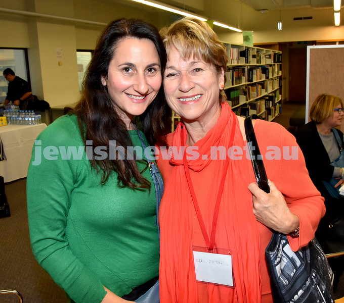 SWJF at Waverley Library. Ginette Ball (left), Lorraine Corne. Pic Noel Kessel