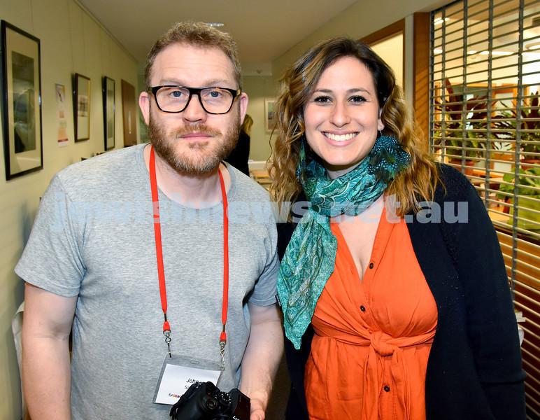 SWJF at Waverley Library. John Safran (left), Lana Sussman. Pic Noel Kessel