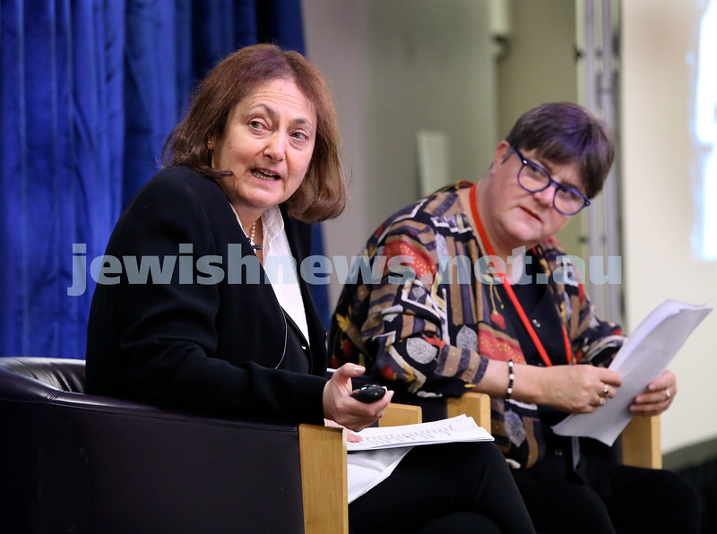 SJWF at Waverley Library. Dina Gold (left) and Julie Thomas. Pic Noel Kessel.