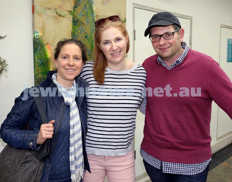 SJWF at Waverley Library. (from left) Karin Bahar, Shoshana and Jason Eisner. Pic Noel Kessel.