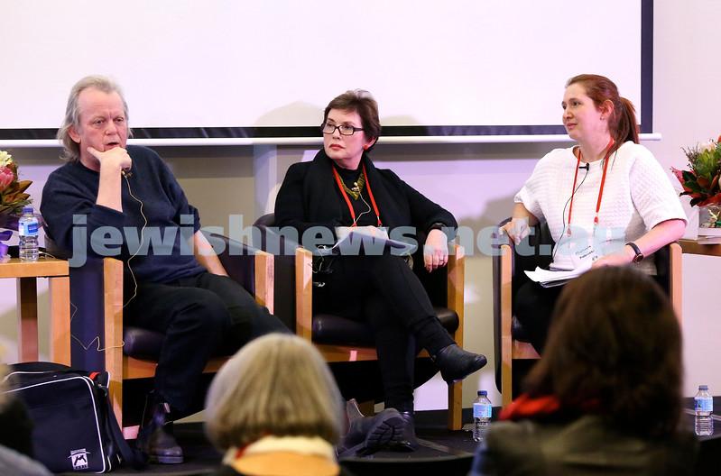 SJWF at Waverley Library. Stuart Coupe, Ida Lichter, Michaela Kalowski. Pic Noel Kessel.