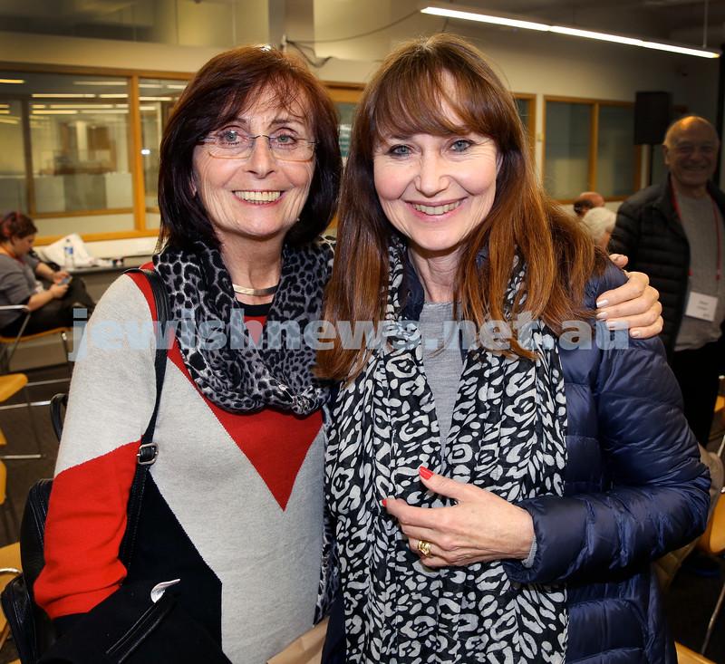 SJWF at Waverley Library. Eva Novy (left), Cyndi Freiman. Pic Noel Kessel.