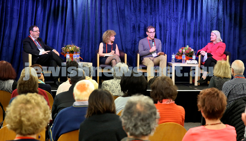 SJWF at Waverley Library. We Need to talk about dying. (from left) Rabbi David Freedman, Leah Kaminsky, Steven Amsterdam, Susan Wyndham. Pic Noel Kessel.