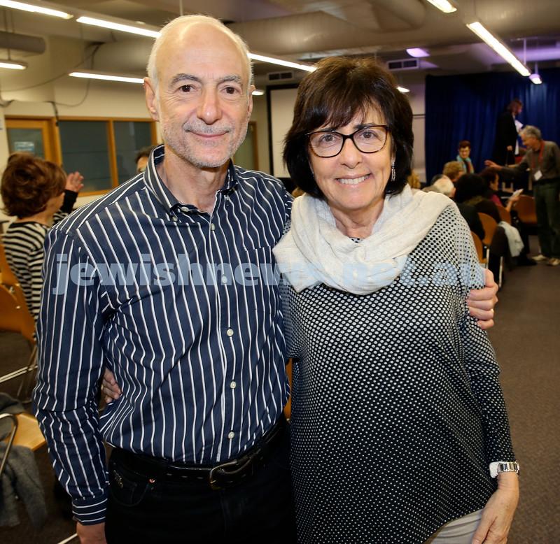 SJWF at Waverley Library. Dr. Hilton and Marilyn Immerman. Pic Noel Kessel.