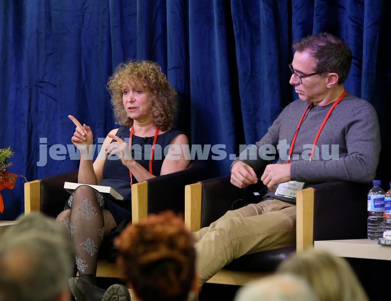 SJWF at Waverley Library. Leah Kaminsky (left) and Steven Amsterdam. Pic Noel Kessel.