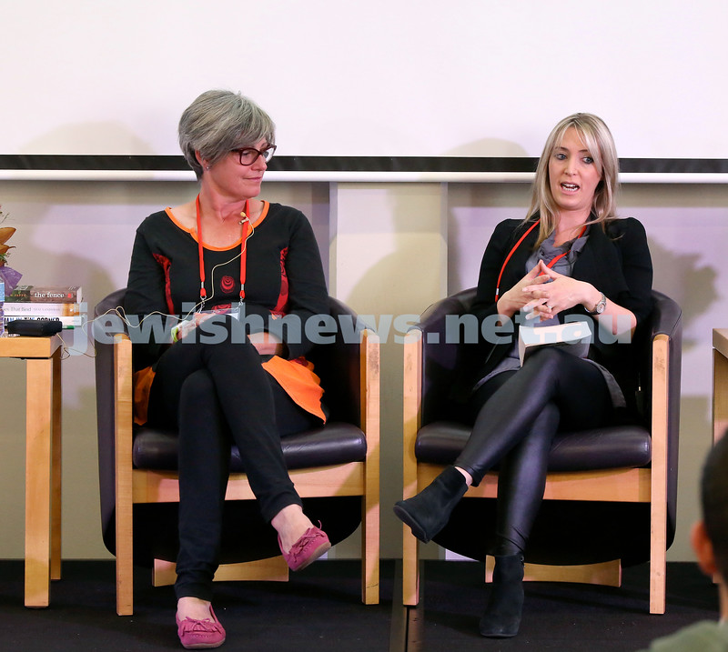 SJWF at Waverley Library. Meredith Jaffe (left) and Lexi Lansman. Pic Noel Kessel.