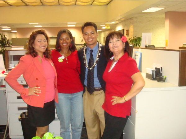 8th, dressed down Red Day.. they paid $5 for the fund raising. Ruel's last day with HFCU. Vilma - Jo Ann - Ruel - Nenette.