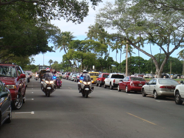 120708  After the service, walked to Ala Moana for the annual motorcycle parade Toys 4 Tots.  I caught the beginning of the parade.