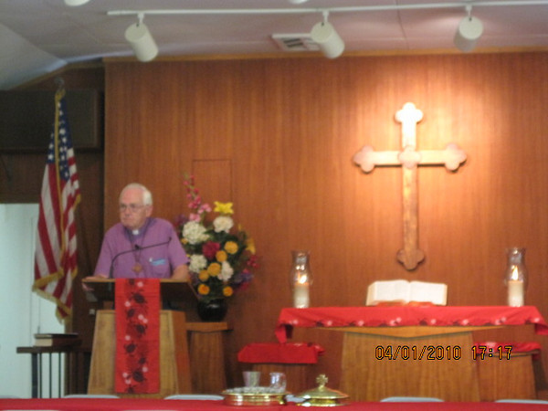 Chaplain Bezanson giving the sermon