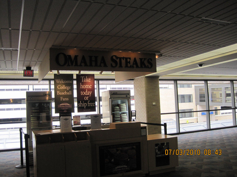 "hard to see the sign ""Omaha Steaks"""
