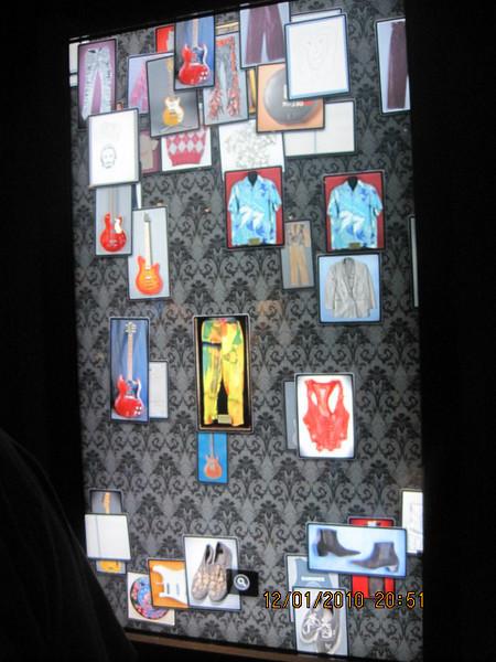 interactive screen of memorabilia
