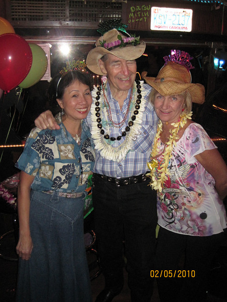CD's 80th birthday celebration at Nashville Waikiki night before his birthday... Not a surprise to CD... he called it unbirthday party!   me - CD - Bobbee...