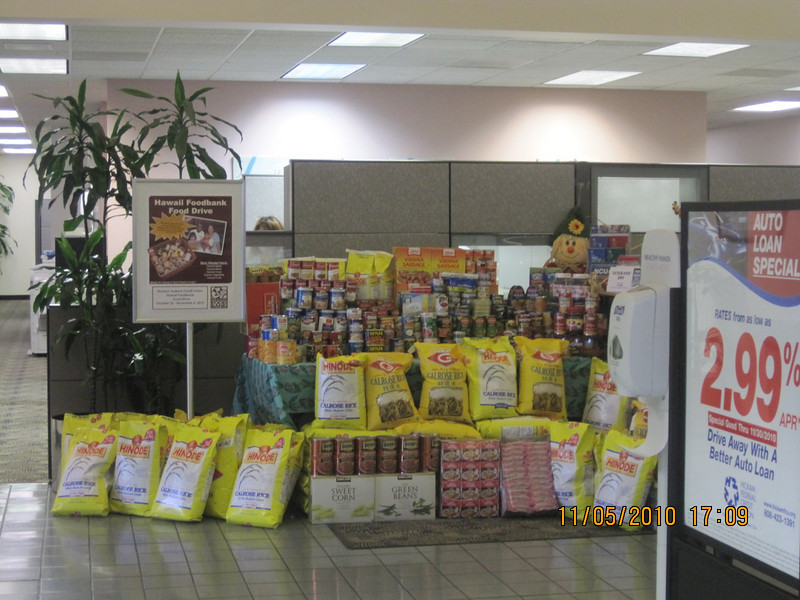 All the collected food at Hickam branch with other departments' collection also!