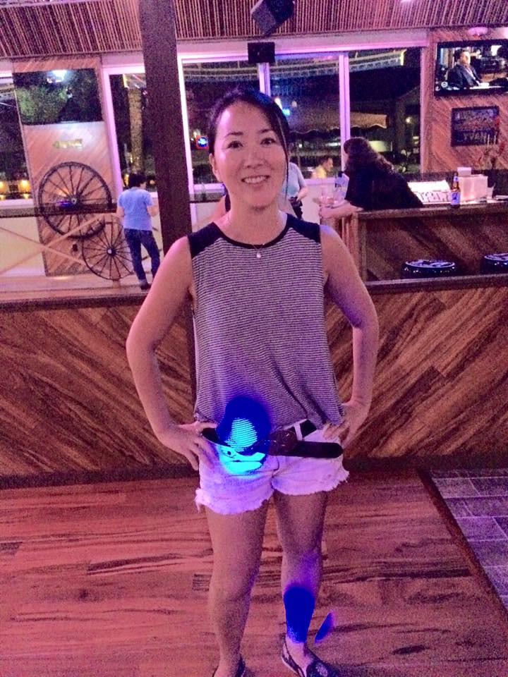 Yukiko wearing CD's belt..