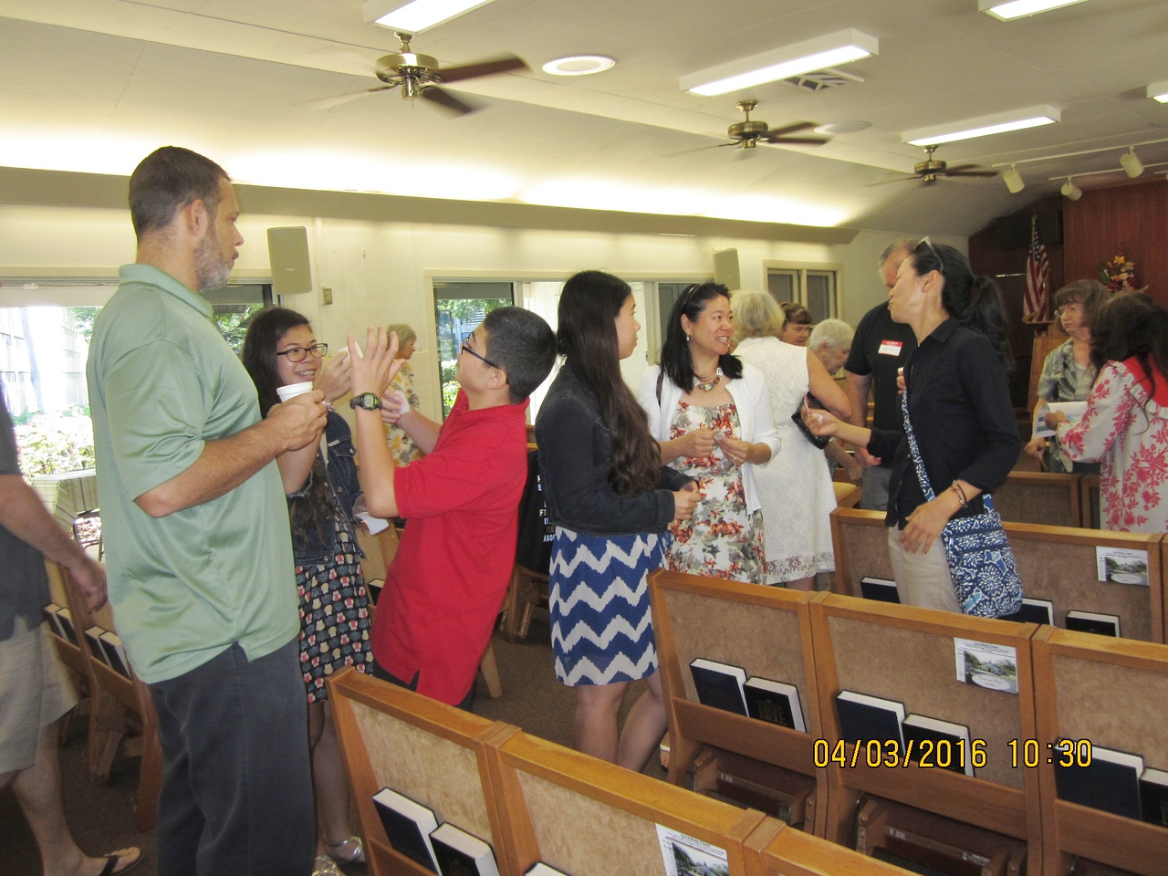 chapel famiy mingled with each other