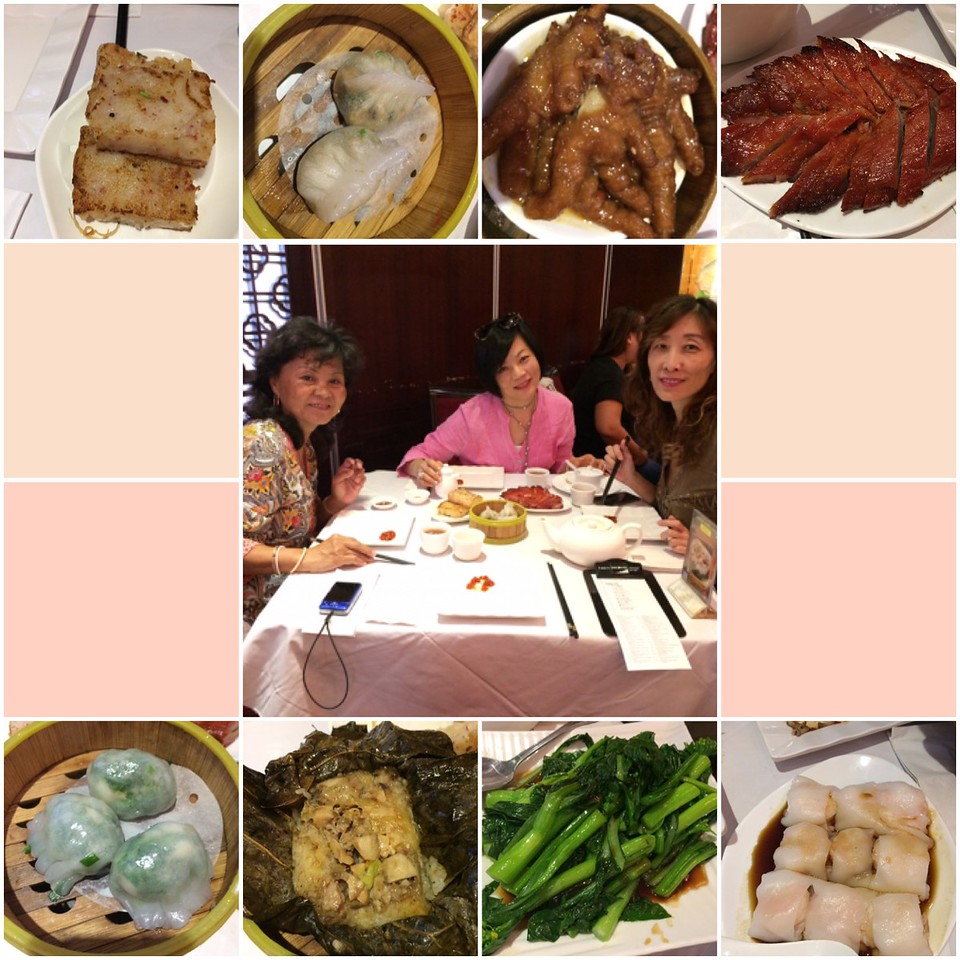 collage pic of the dim sum and friends