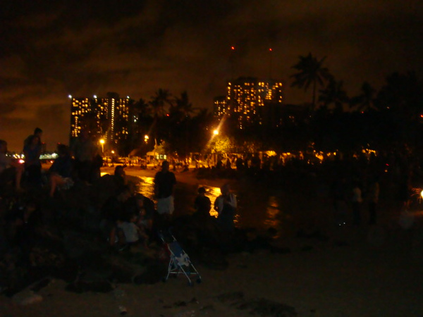 The crowds at Hale Koa Hotel Beach area, shooting this shot without flash..