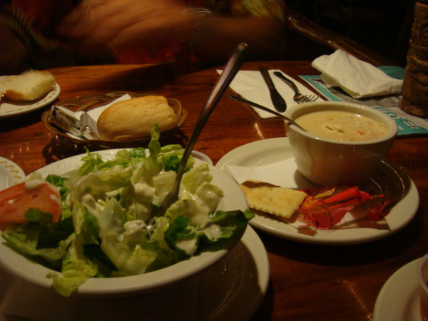 my salad and BB's clam chowder...