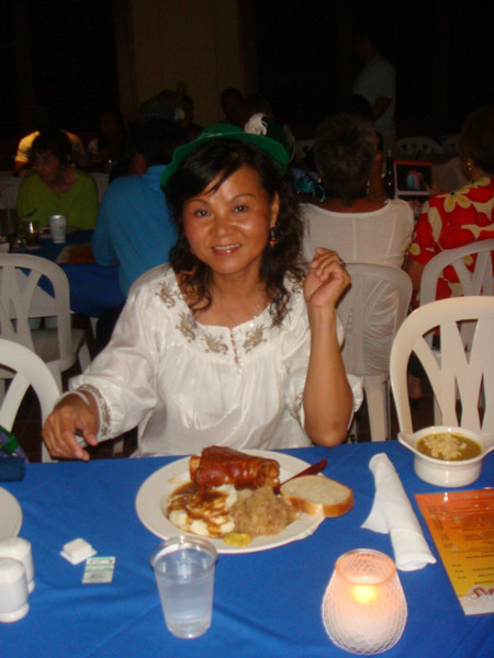 sister LC with her yummy German food..