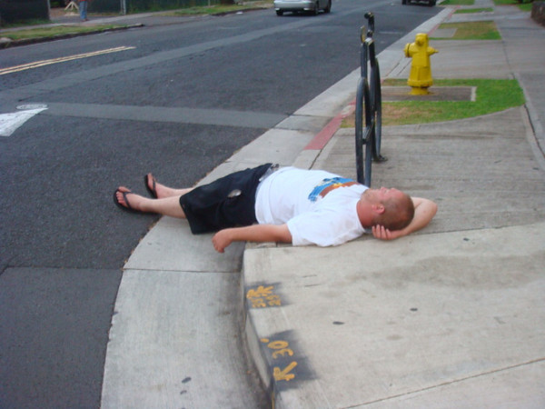10/2/09 drunken tourist on the street corner.. this was around 06:30 in the morning..