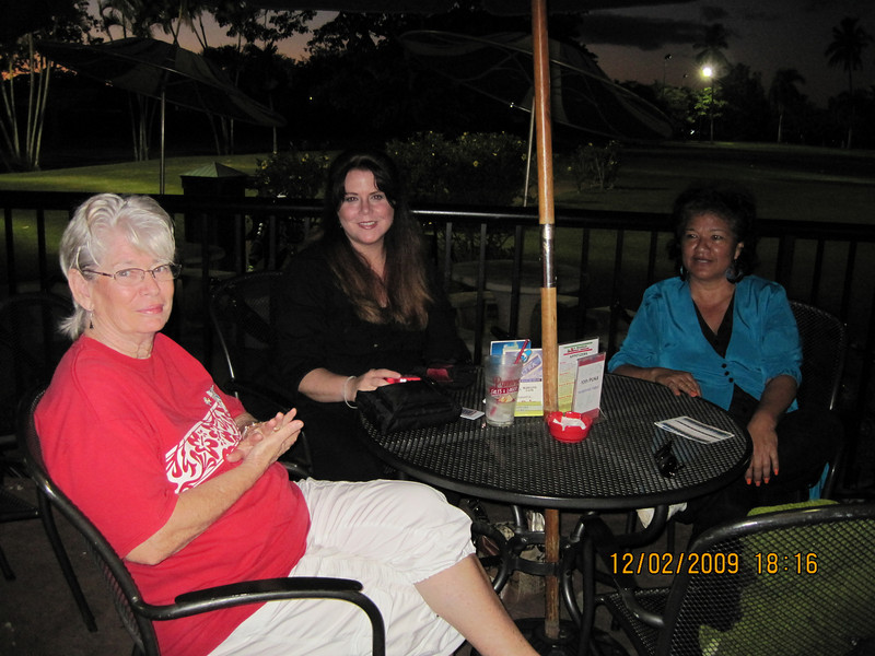 snack dinner time... waiting for our meal.. Susan - Audrey - Pearl.  Audrey is also a HFCU member.