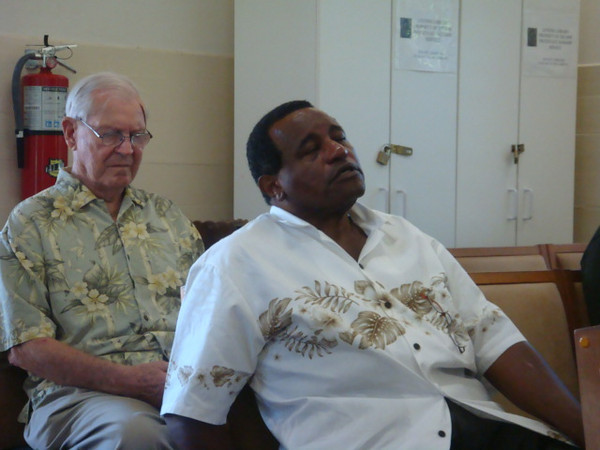 Purvis back from long time hospital care.. Even though with pains, he still came to Sunday service.
